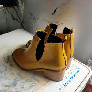 Fashion side hollow pure color chunky heels martin boots