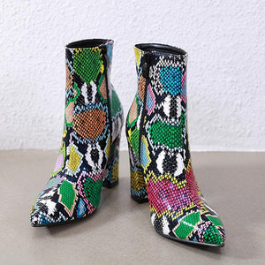 Fashion chromatic snakeskin pointed toed martin boots