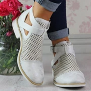 Ladies casual solid color openwork buckle low heel ankle boots
