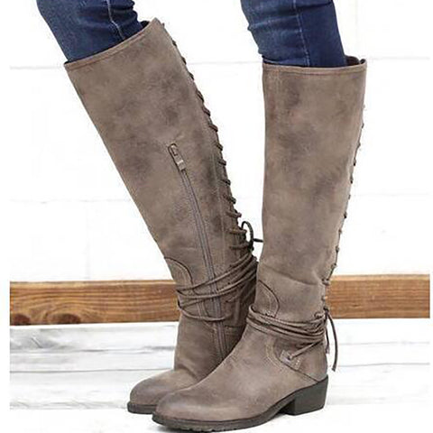 Women's fashion low-heeled high boots