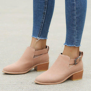 Elegant Pointed Toe Hollow Out Mid Heel Boots