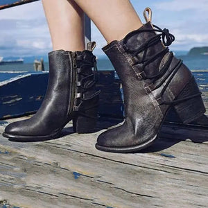 Women's fashion solid color ankle straps high heel Martin boots