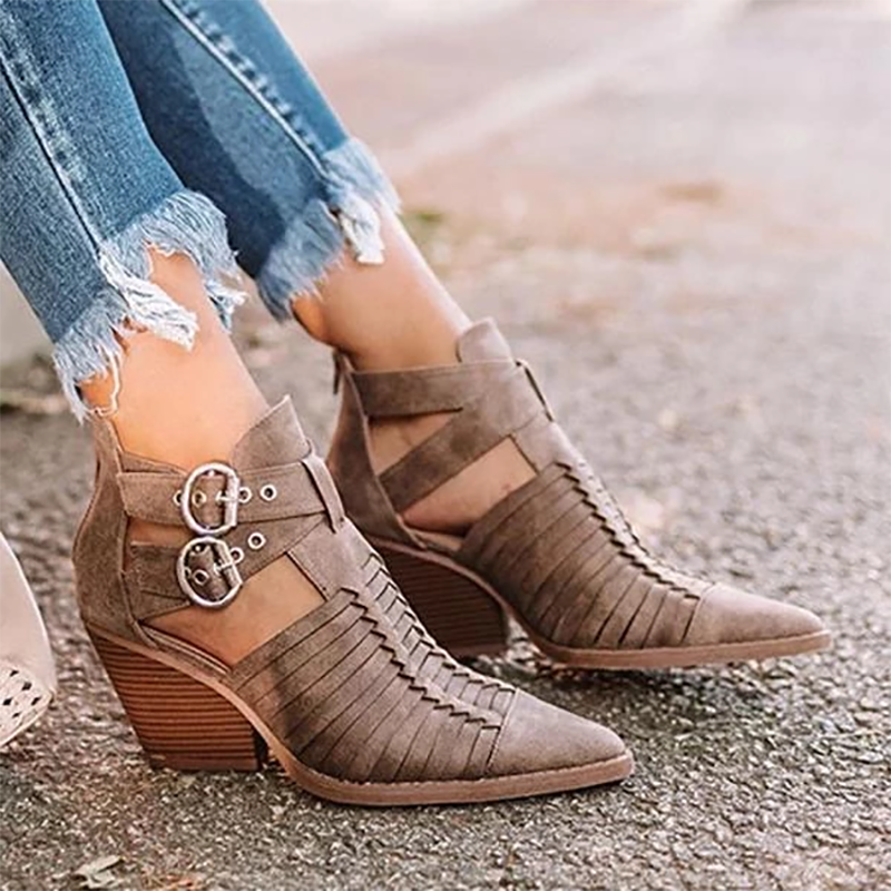 Fashion Pointed Toe Belt Buckle Mid Heel Boots