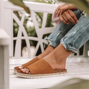 Fashion vintage straw flat slippers
