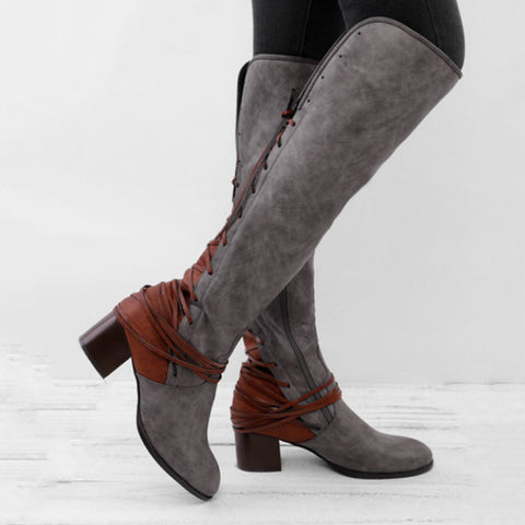 Vintage lace up women's boots with thick heels