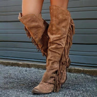Fashion Retro Color With Thick Tassels Over The Knee Boots