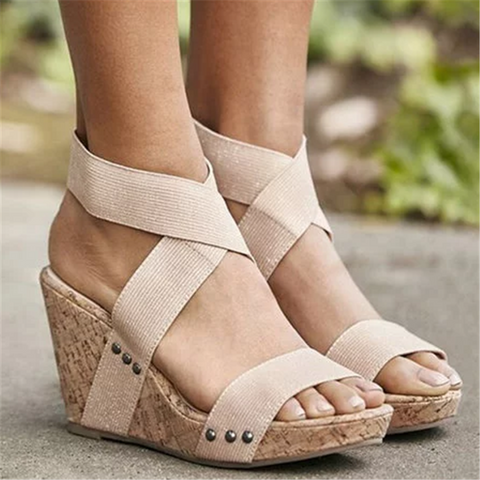 Women's elastic band with comfortable wedge sandals