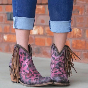 Euramerican Leopard Print Tassels Chunky Heels Ankle Boots
