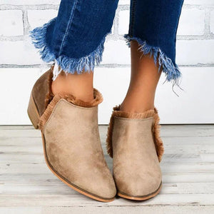 Chunky Low Heeled Velvet Round Toe Casual Outdoor Ankle Boots