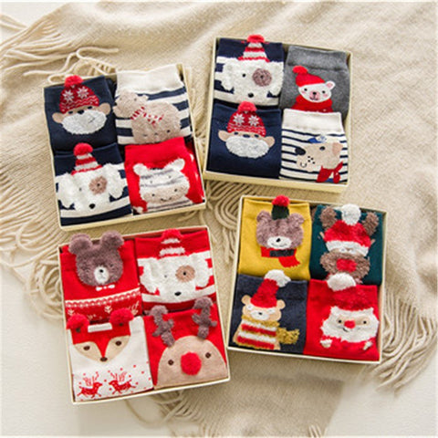Christmas gift box 4 pairs of cartoon socks in combined packages