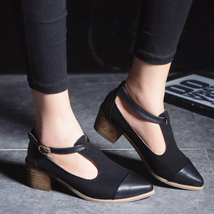 British Wind Buckle Pointed Toes Kitten Heels Shoes