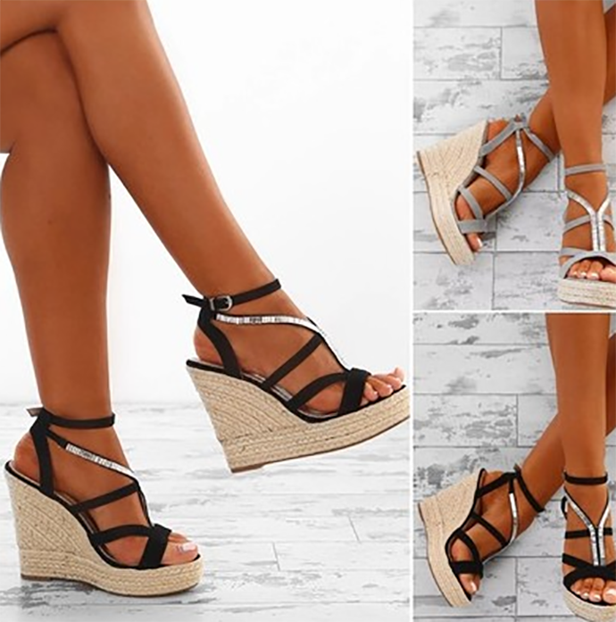 Colorblock straps wedge heel straw Roman sandals