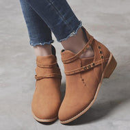 Chunky Low Heeled Round Toe Date Outdoor Short Ankle Boots
