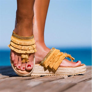 Fashion Tassel Hemp Rope Platform Slippers