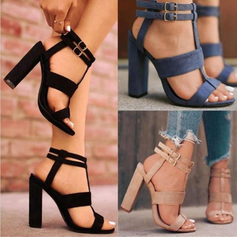 Plain  Chunky  High Heeled  Velvet  Ankle Strap  Peep Toe  Date Outdoor Sandals