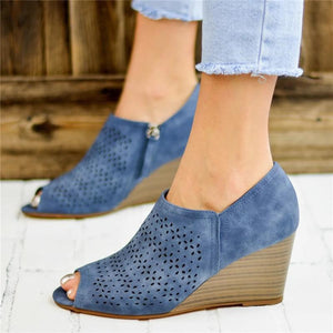 2019 Fish Mouth Hollow Wedge Heel Sandal