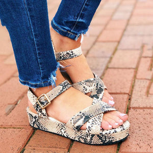 Women Peep Toe Platform Wedge Ankle Strap Sandals