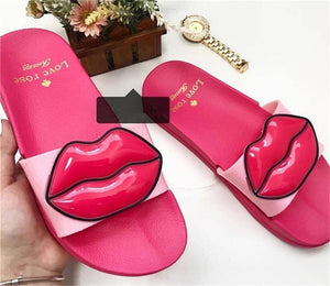 Spring New Sexy Red Lips Slippers