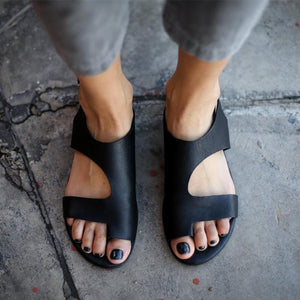 Daily Plain Open Toed Asymmetrical Shape Flat Sandals