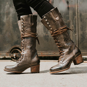 Fashion round head with thick heel boots