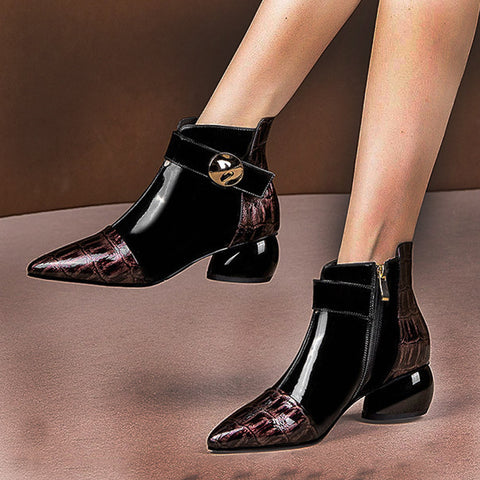 Fashion pointy color matching zipper women's short boots