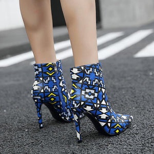 Fashion Mixed Color Pointed Toes Stiletto Heels Ankle Boots