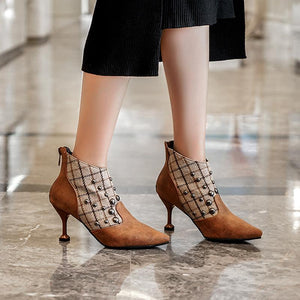 Women's fashion solid color rivet pointed ankle boots