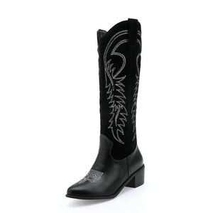 Autumn and winter vintage embroidery high cowboy boots