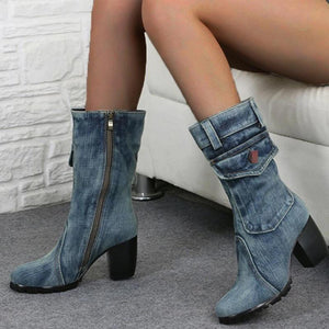 Women's fashion solid color denim round head boots