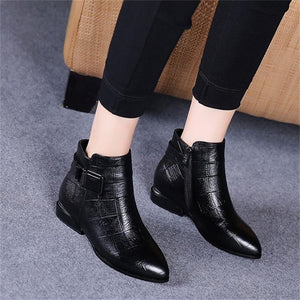 Fashion pointed plaid zipper women's short boots