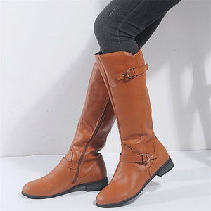 New women's boots with buckle side zipper