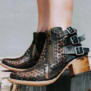 Women's Hollowed Out Flower Belt Buckle Short Leather Boots