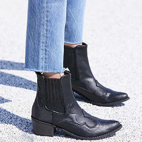 Women's fashion solid color irregular stripes Chelsea boots