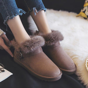 Casual Fashion Fur Solid Color Ankle Boots