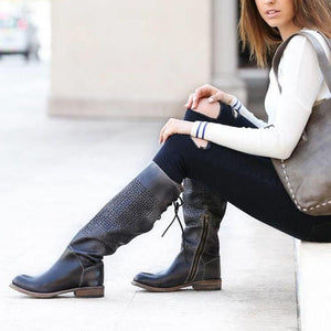 Ladies vintage round cut waxed leather high boots