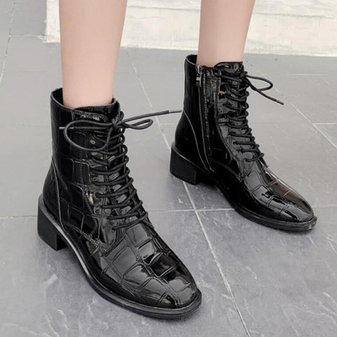 Women's Fashion Mid Heel Crocodile Pattern Boots