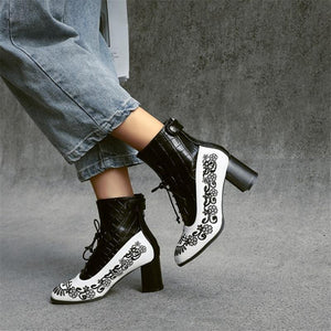Women's Fashion Color Matching Printed Short Boots