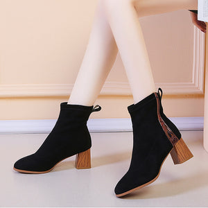 Casual Women Patchwork Thick Heel Ankle Boots