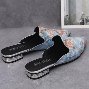 Flower embroidered pointed low heel slippers