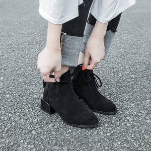 Women's fashion black suede ankle boots