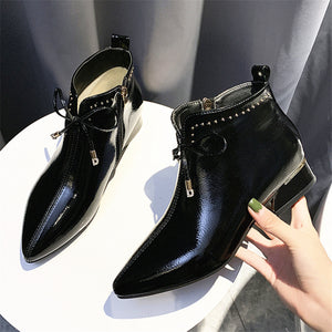 Rivet Pointed Toe Plain Women Ankle Boots