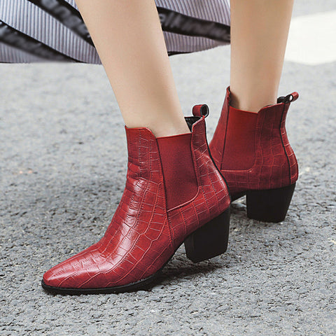Fashion trend snake pattern thick heel women's short boots