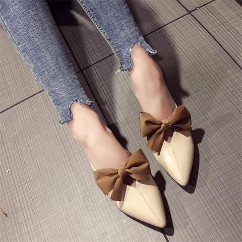 Women's fashion elegant bow pointed slippers