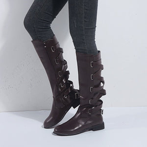 Retro cross with low heel in the tube boots