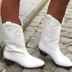 Women's fashion solid color embossed thick heel boots