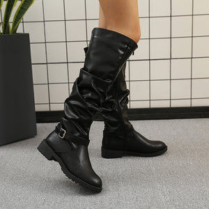 Fashion pleated belt buckle high tube women's Boots