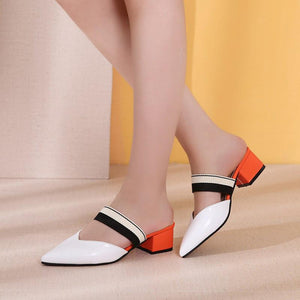 Women's fashion solid color anklet strap high heel slippers