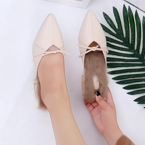 Women's outer wear with pointed thick and half slippers