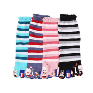 Cartoon cute striped five finger socks