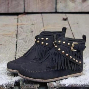 Women's casual solid color tassel rivet ankle boots